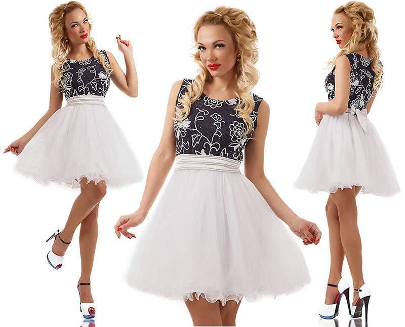 Фото новинка: бело-синее платье с цветочным узором и пышной юбкой