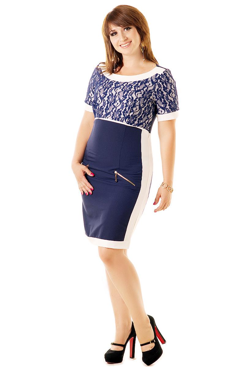 Фото новинка: кружевное бело-синее платье