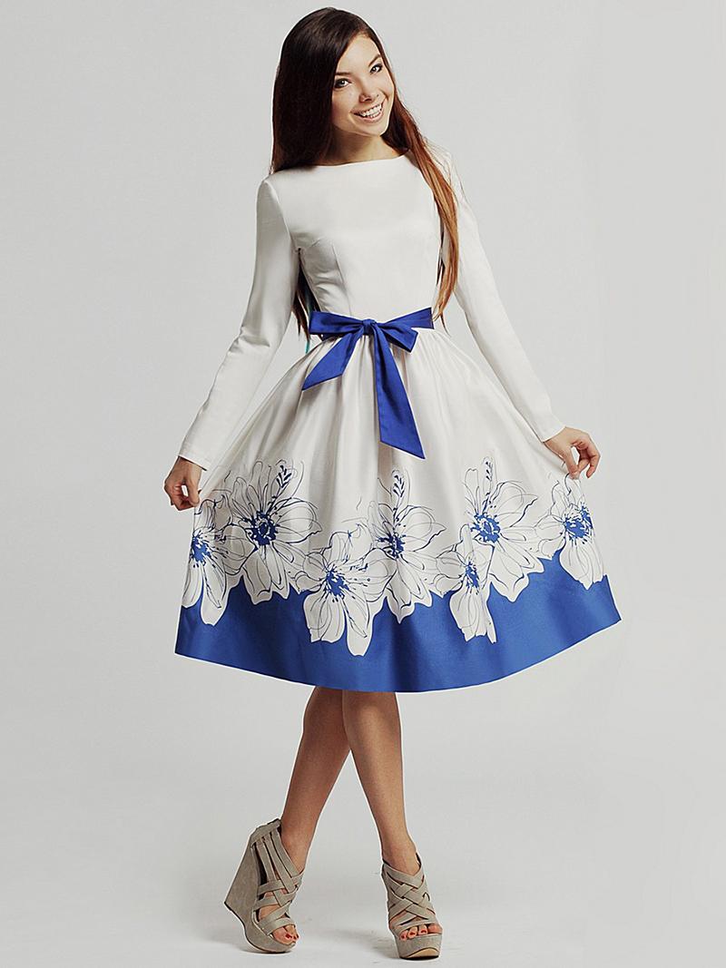 Пышное бело-синее платье – фото новинки сезона