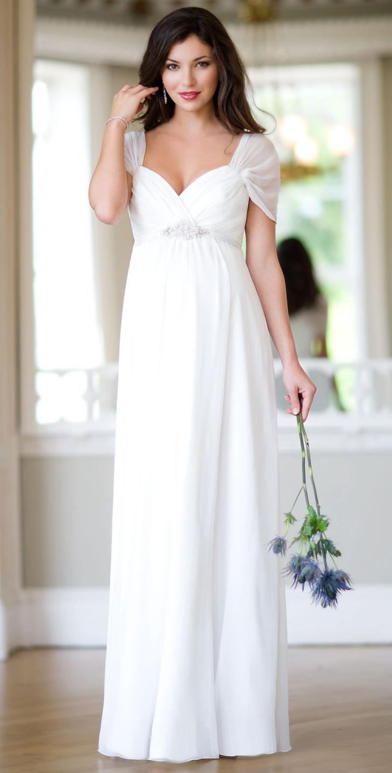 Длинное белое платье для беременных – фото новинки сезона
