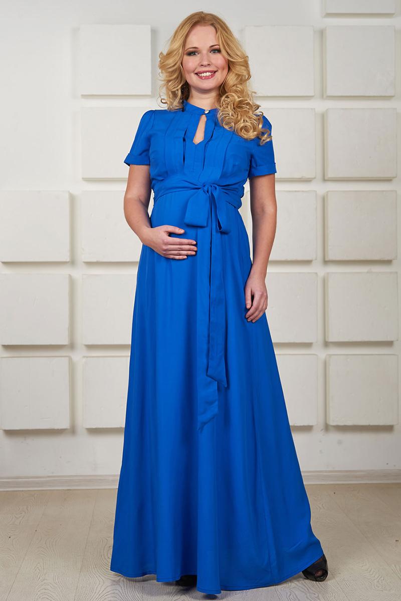 Длинное синее платье для беременных женщин