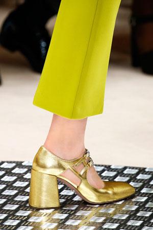 Модные золотые туфли осень-зима 2015-2016 фото Prada
