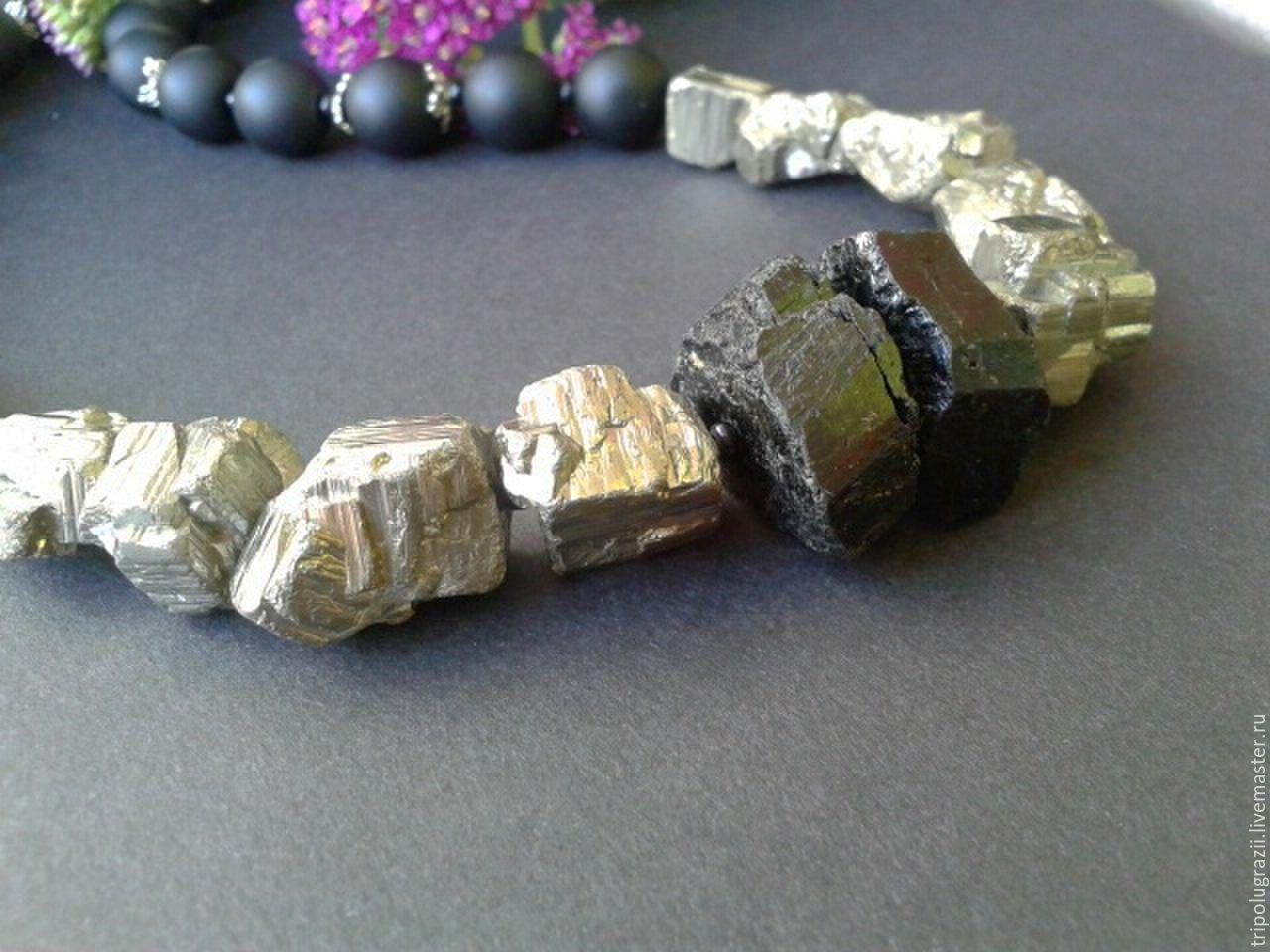 Камень пирит - фото украшений