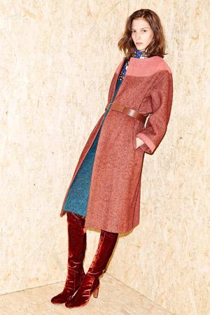 Красное длинное модное пальто осень-зима 2015-2016
