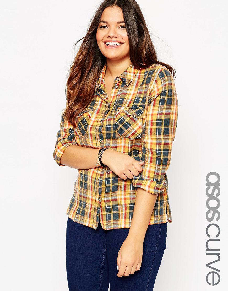 Клетчатая рубашка - тренд моды для полных 2016
