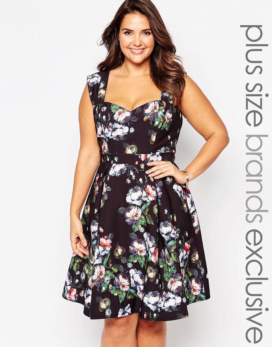 Мода для полных женщин 2016: цветочное платье больших размеров Paper Dolls Plus, цена 6 117,63 руб.