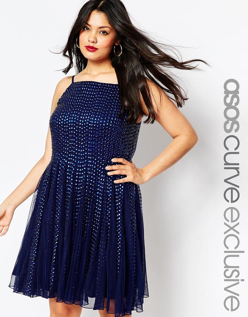 Мода 2016 для полных женщин: синее нарядное платье больших размеров ASOS CURVE After Party