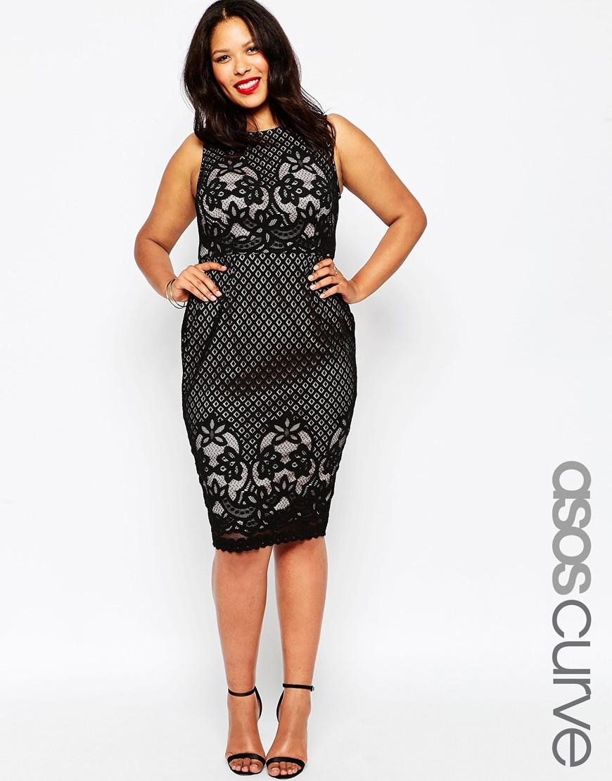Мода для полных женщин 2016: Кружевное платье ASOS CURVE, цена 5 647,04 руб.