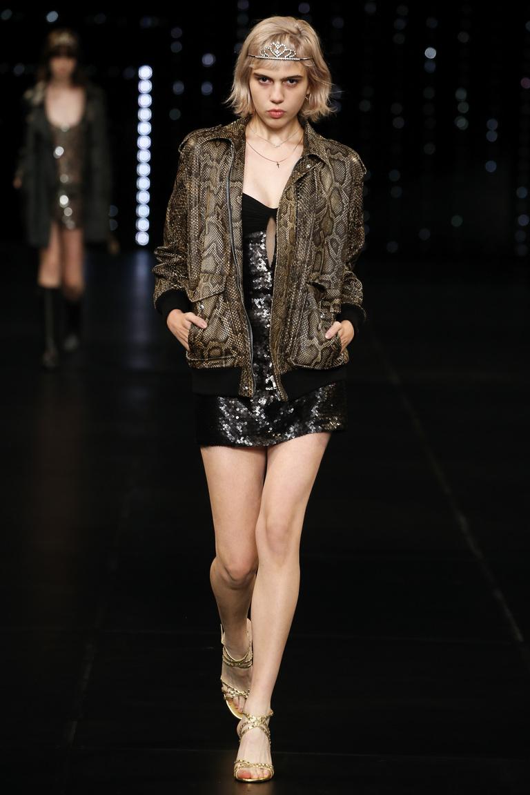 Модная кожаная куртка 2016 с леопардовым принтом – фото Saint Laurent