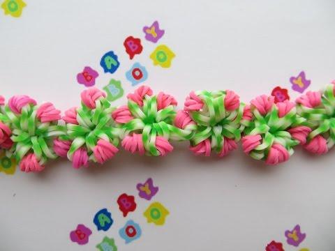 Плетение браслета из резинок на вилке с цветами
