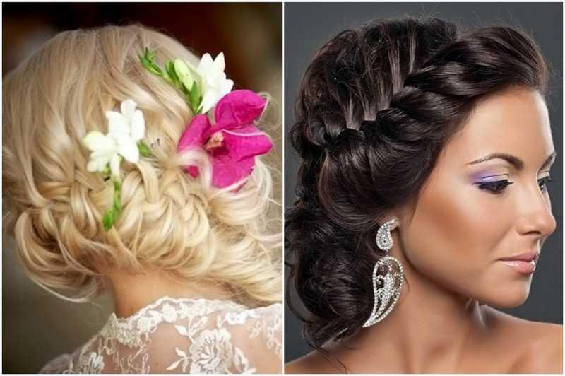 Прическа на свадьбу с косами