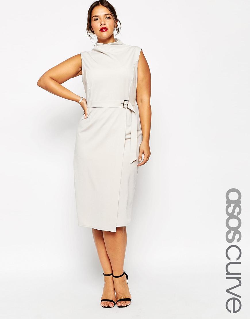 Белое платье 2016 для полных женщин в офисном стиле - ASOS CURVE Clean High Neck Column Dress With Belt Detail In Crepe, цена 5 294,10 руб.