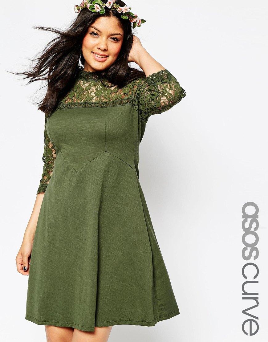 Зеленое платье 2016 для полных женщин - ASOS CURVE, цена 3 529,40 руб.