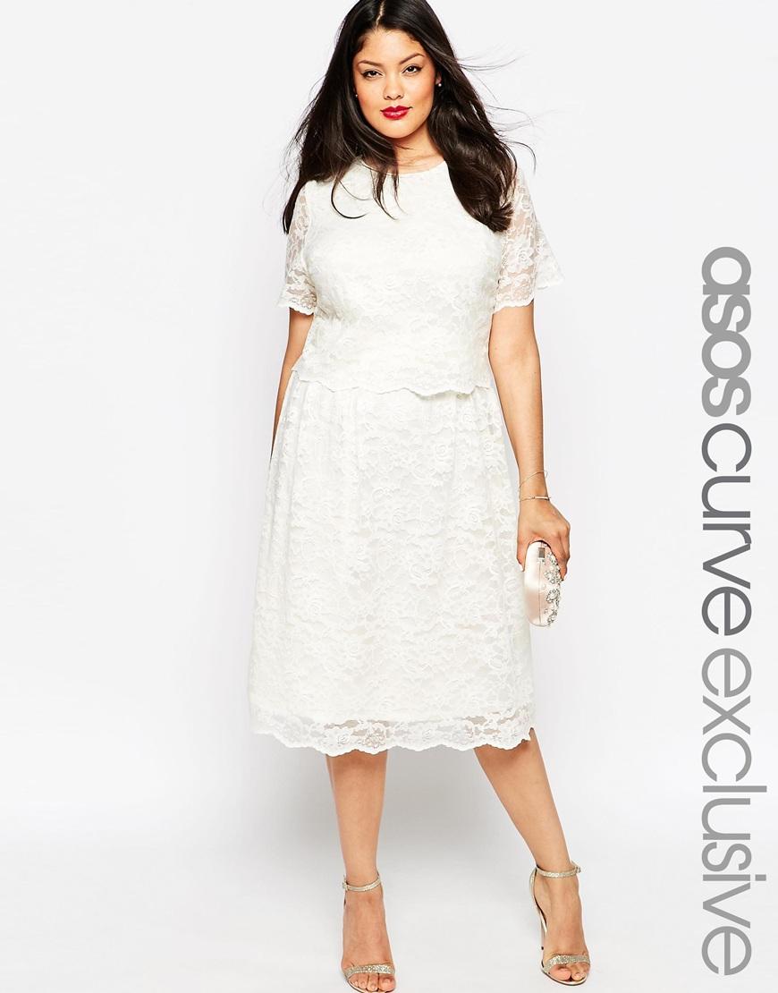 Белое кружевное платье 2016 для полных женщин - ASOS CURVE, цена 5 647,04 руб.