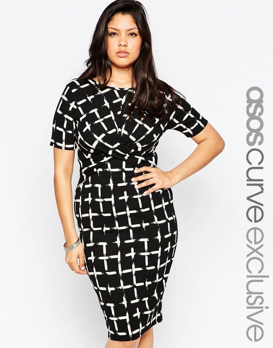Платье 2016 для полных женщин в клетку - ASOS CURVE, цена 3 294,11 руб.