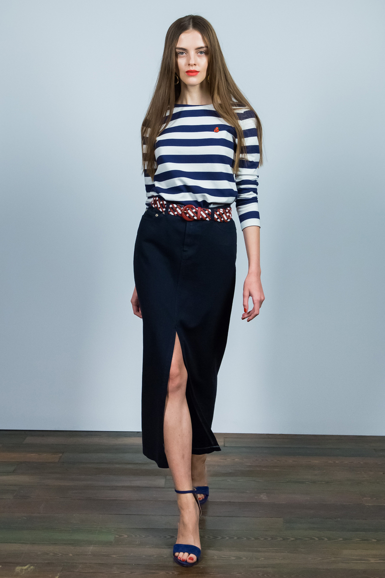 Длинная модная юбка 2016 с кофтой в полоску – фото новинка Alexander Terekhov