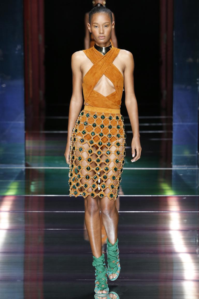 Прозрачная модная юбка карандаш 2016 – фото новинка в коллекции Balmain
