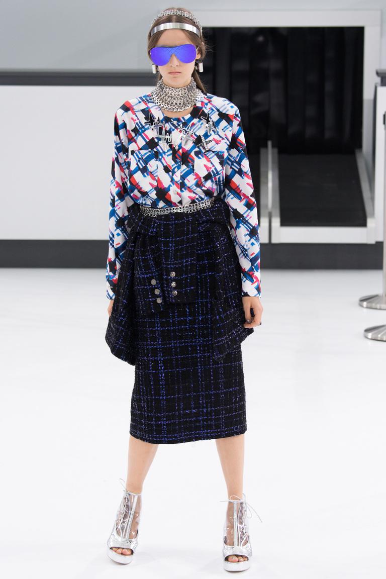 Синяя модная юбка в клетку 2016 фото новинка от Chanel