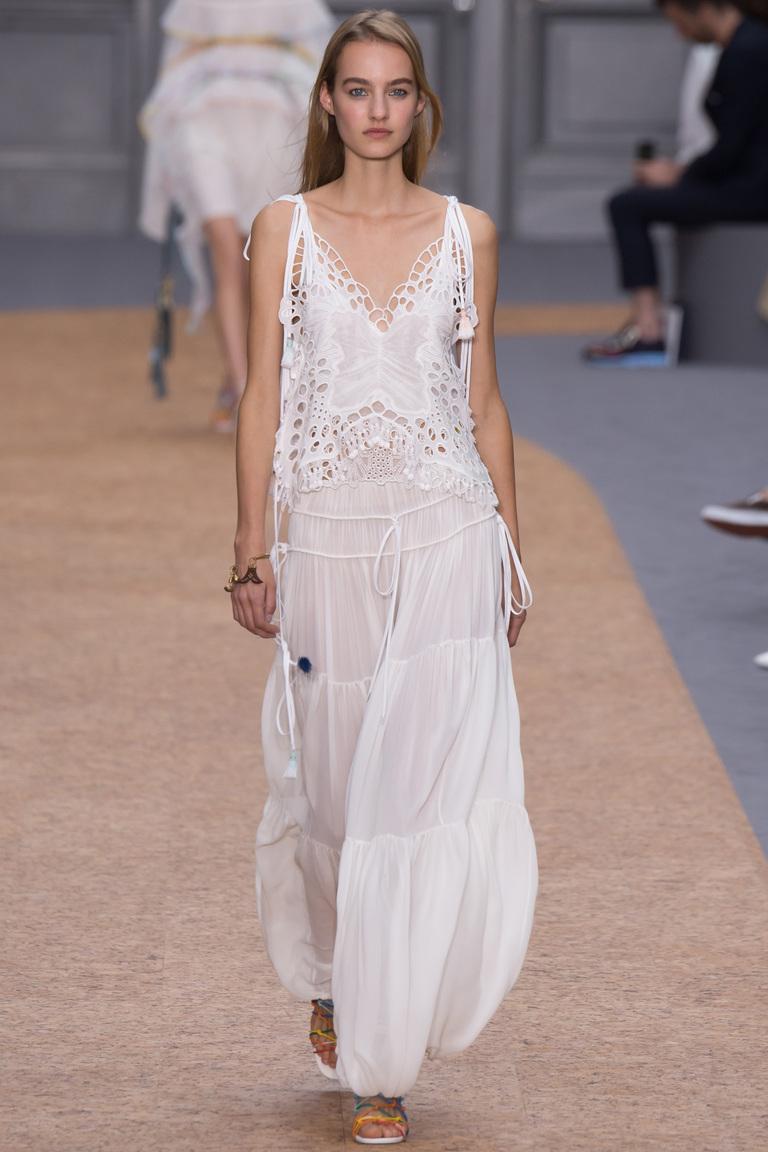 Длинное модное кружевное платье 2016 – фото новинки от Chloé