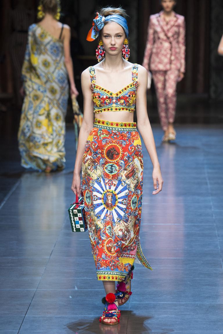 Разноцветная яркая модная длинная юбка 216 – фото новинка Dolce&Gabbana