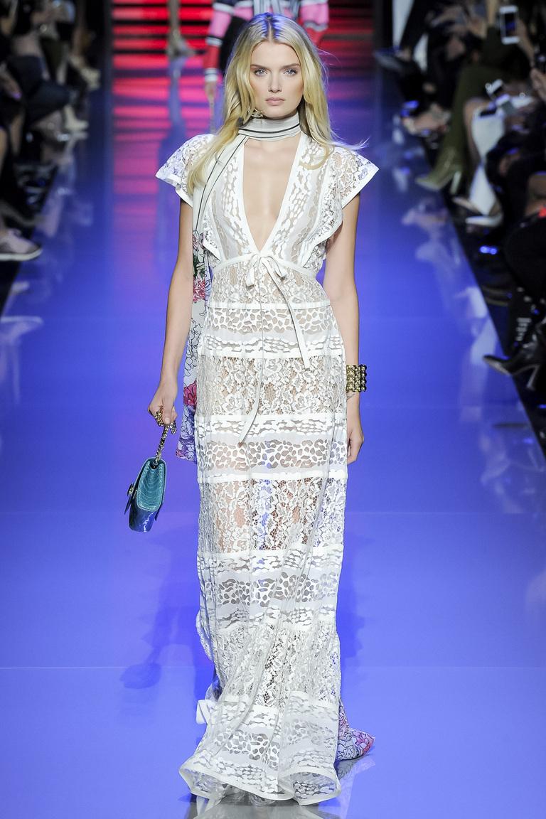 Кружевное белое платье, модное в 2016 году – фото новинки в коллекции Elie Saab