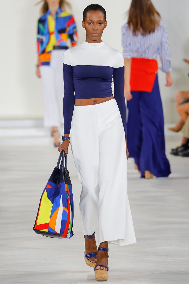 Укороченный модный женский сине-белый свитер 2016 – фото коллекции Ralph Lauren