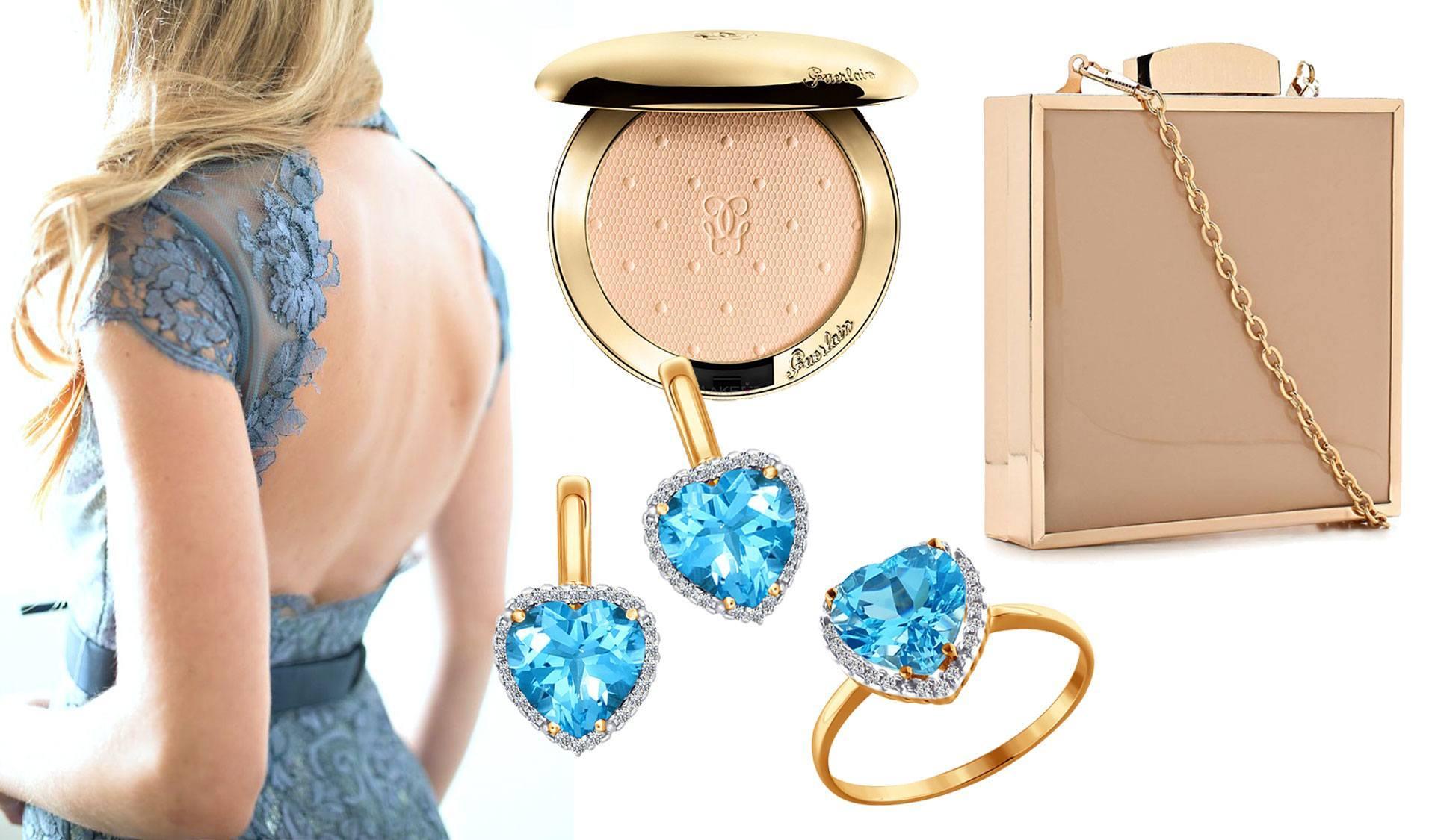 Украшения с голубым топазом – идеально сочетается с голубым кружевным платьем