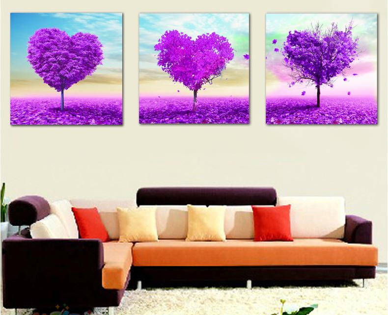 Модульная картина с фиолетовыми деревьями своими руками