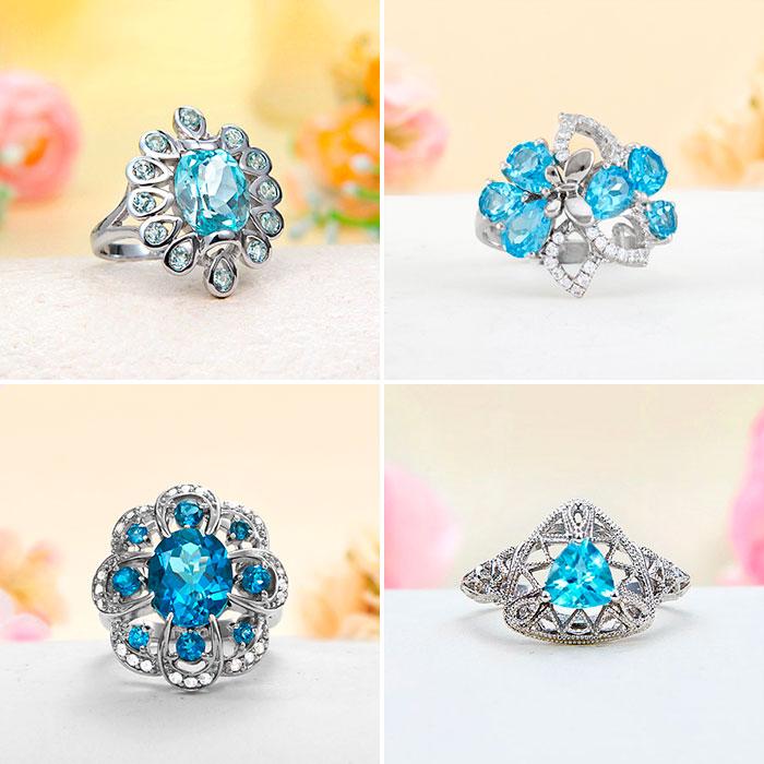 Ювелирные украшения с голубым топазом