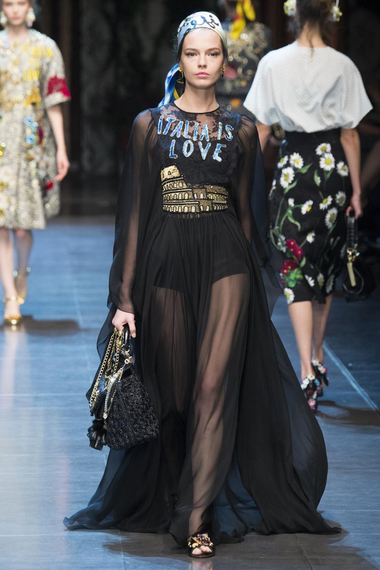 Длинное прозрачное модное черное платье 2016 – фото новинка в коллекции Dolce & Gabbana