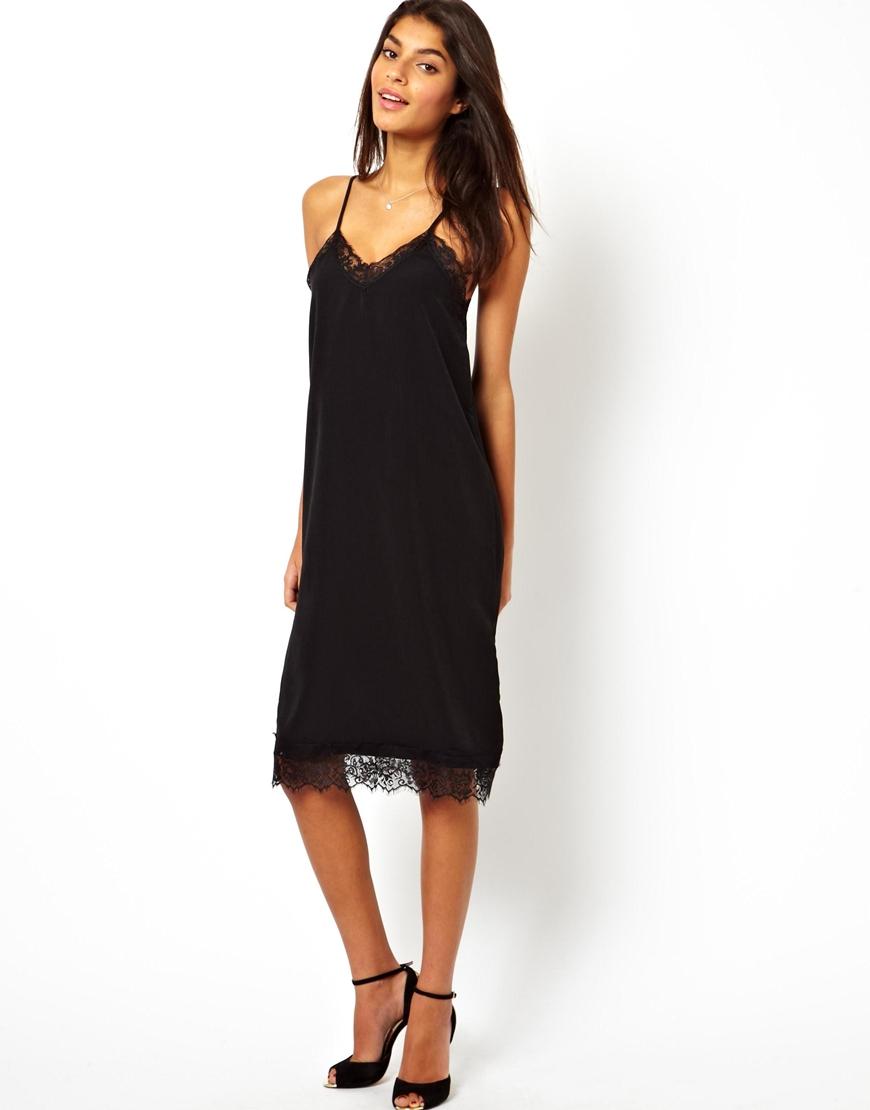 Платье комбинация с кружевом черное