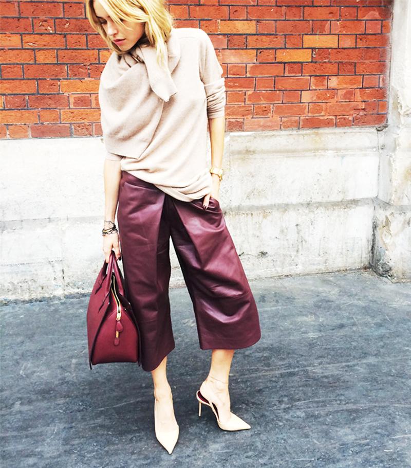 Кожаные брюки кюлоты – фото новинка сезона
