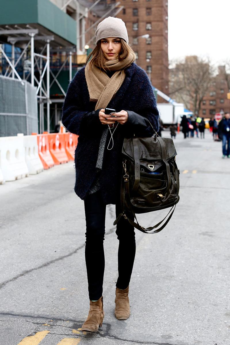 Фото: как носить черное пальто с шарфом