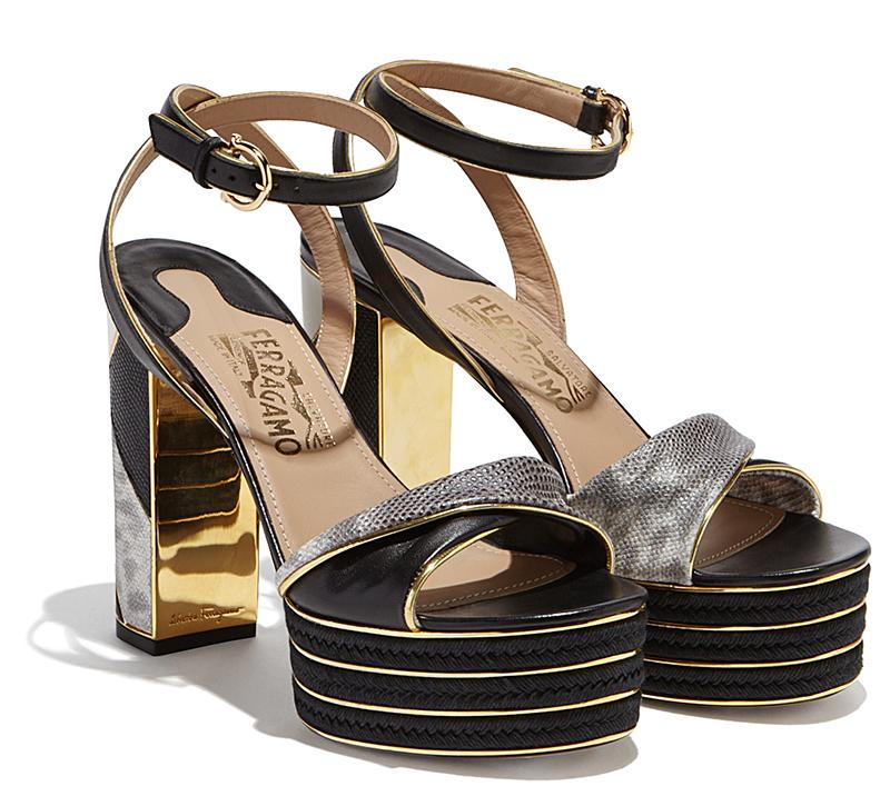 Модные босоножки на платформе и толстом каблуке - фото новинки коллекции Salvatore Ferragamo