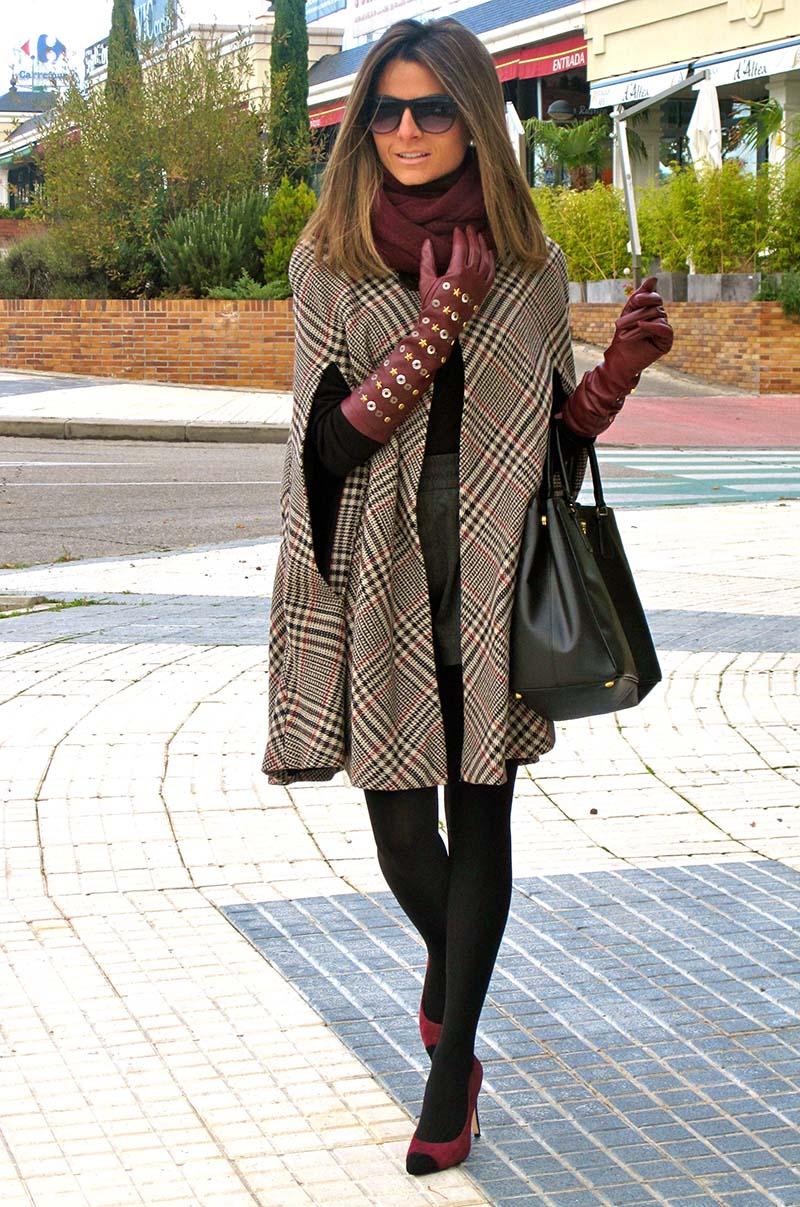 Модное пальто накидка в клетку – фото, с чем носить пальто