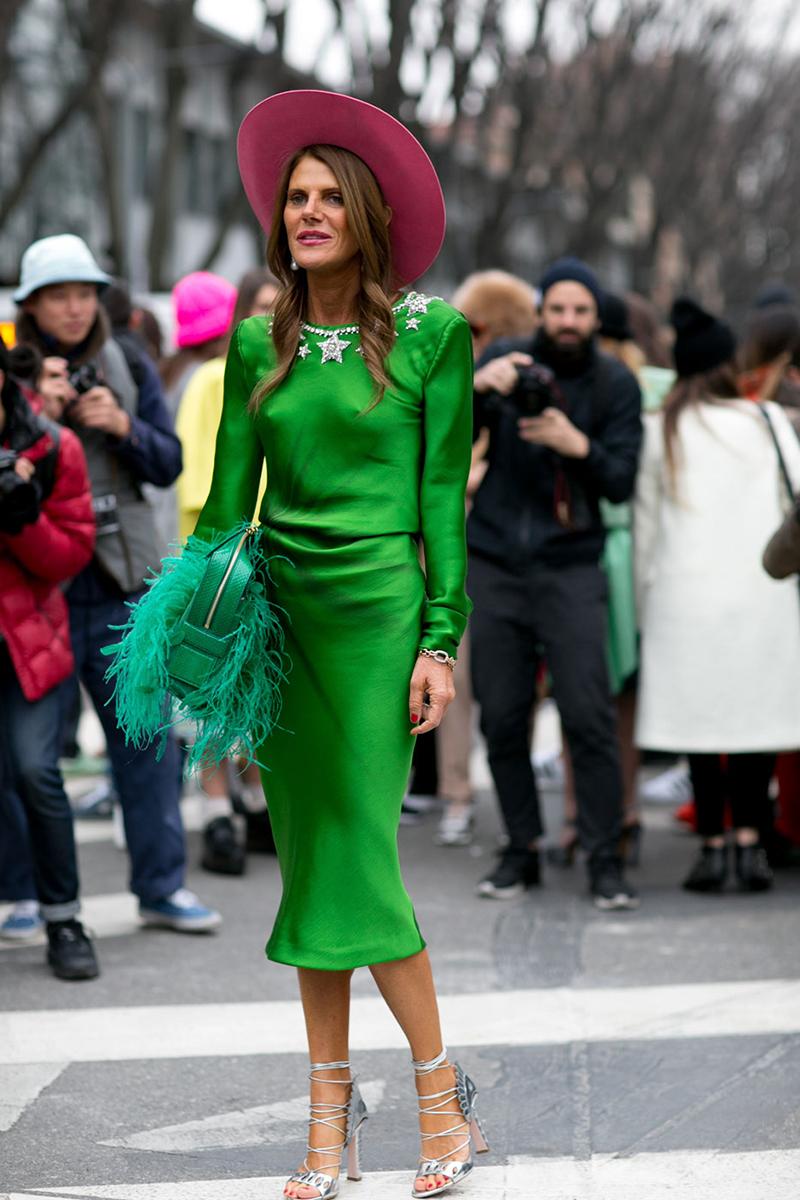 Модное салатовое платье – тренды уличной моды 2016