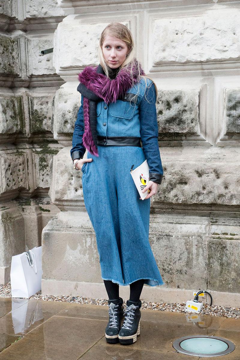 Джинсовый наряд уличной моды 2016