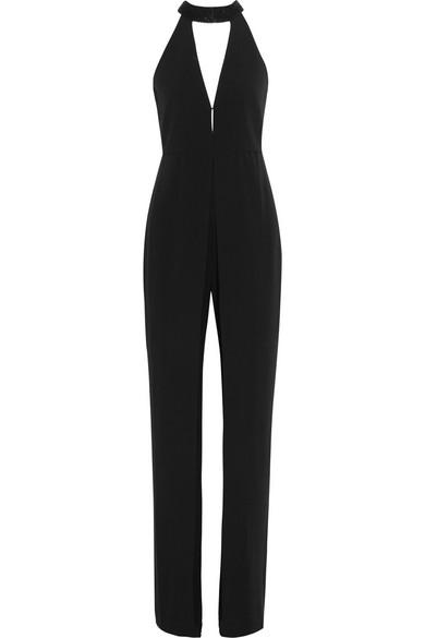 Комбинезон с чокером HALSTON HERITAGE Embellished stretch-crepe jumpsuit, цена – 495$