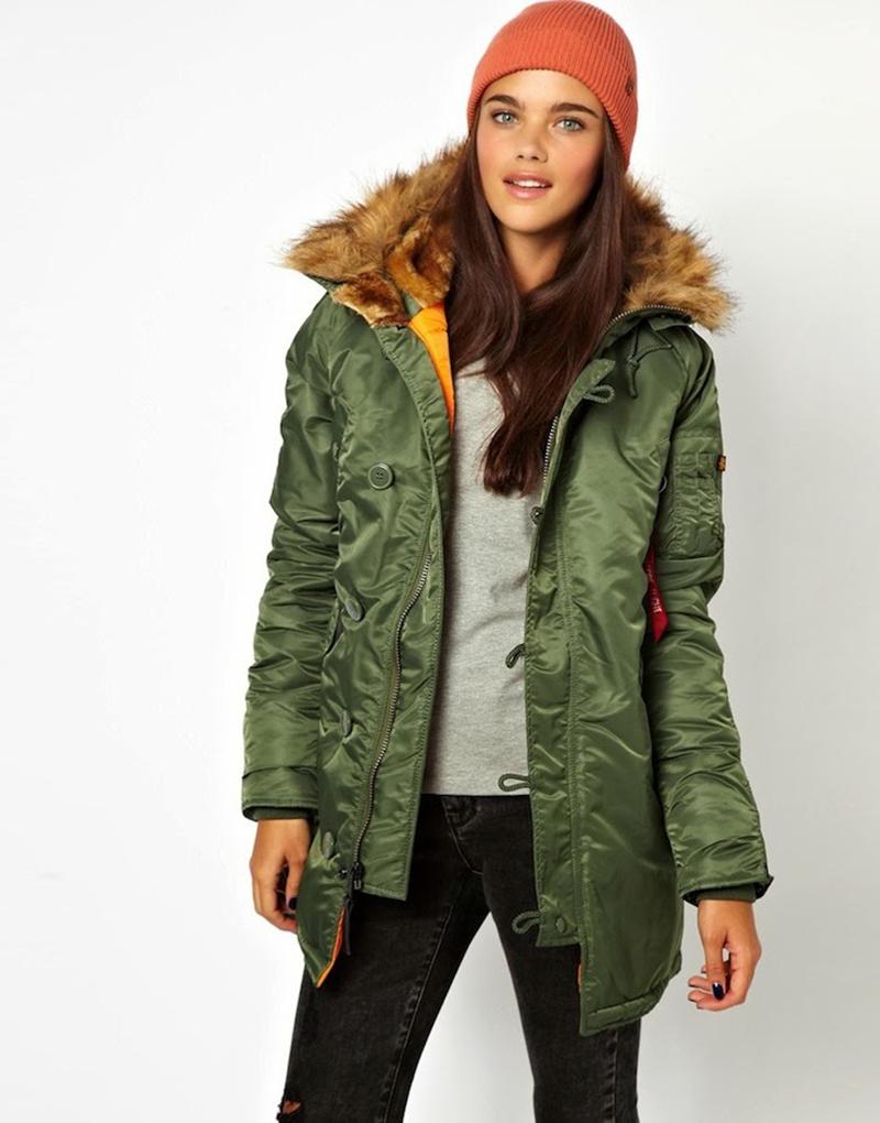 Зеленая женская куртка аляска – фото новинки и тренды