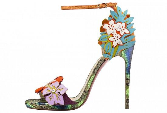 Модные туфли лабутены с цветами – фото новинка коллекции весна-лето 2016