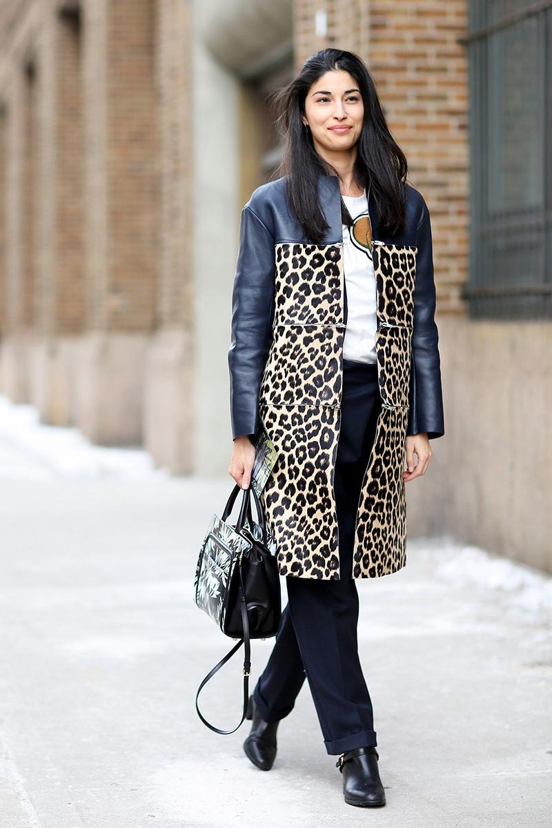 Кожаное пальто с леопардовым узором - фото новинки и тренды сезона