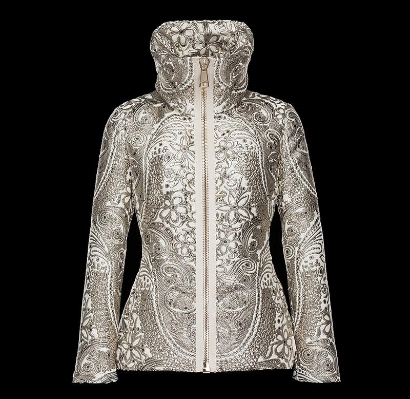 Модная женская куртка Монклер серебристого цвета с роскошными узорами