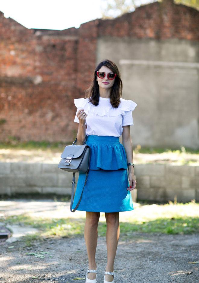 Короткая синяя весенняя и летняя юбка 2016 – фото новинки и тренды сезона