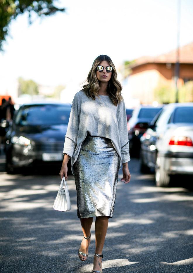 Модная блестящая юбка весны и лета 2016 – фото новинки сезона
