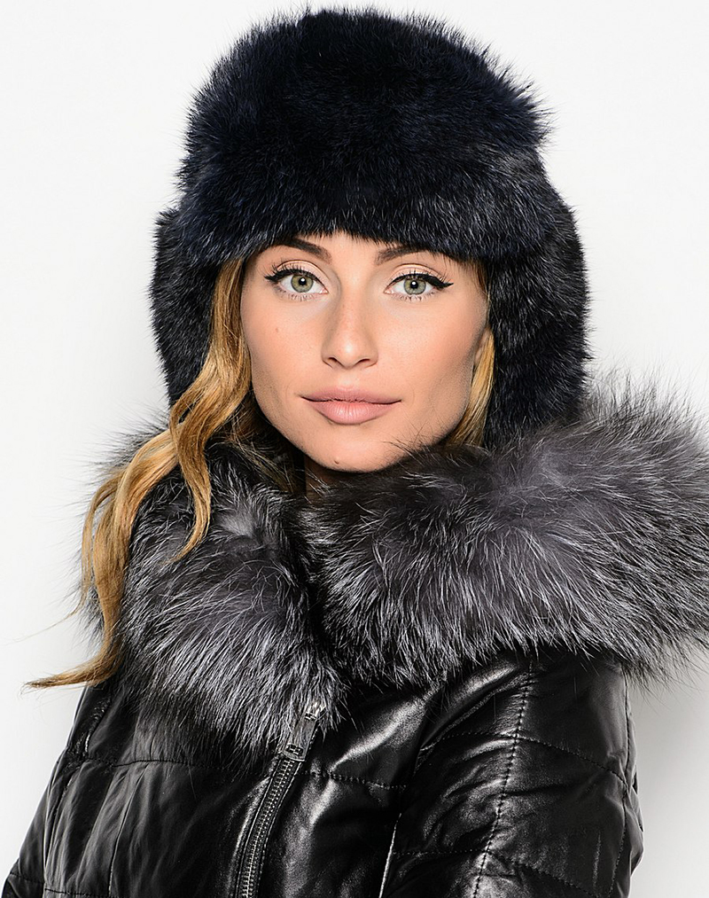 Меховая черная шапка ушанка – фото новинки и тренды сезона