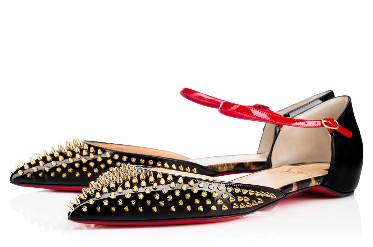 Туфли лабутены, модель Baila Spike Flat
