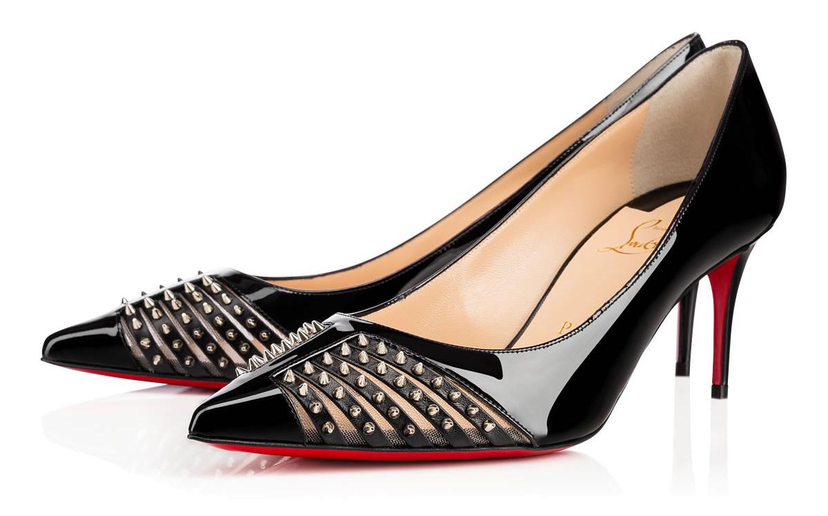 Туфли на среднем каблуке лабутены Bareta