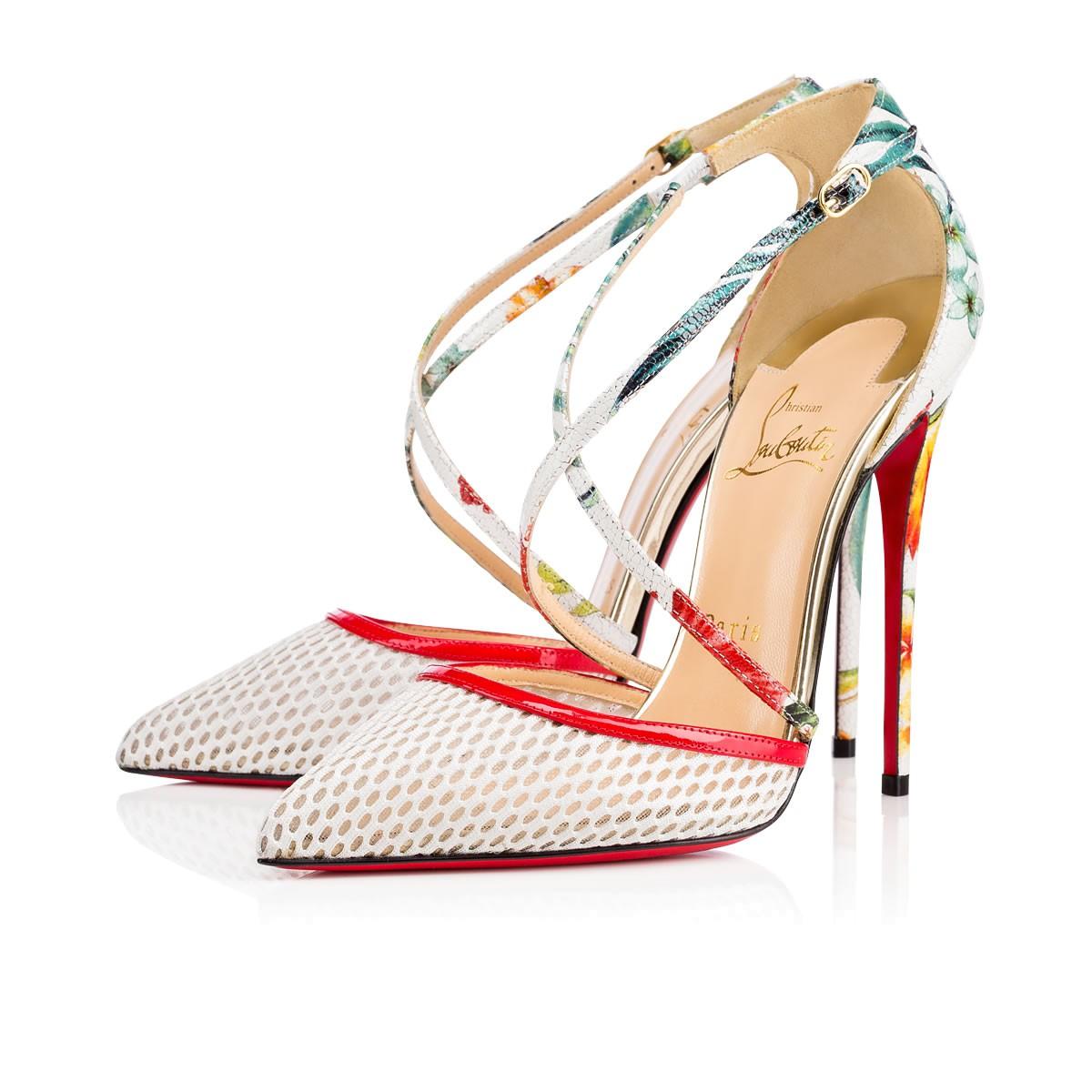 Белые туфли лабутены, модель Cross Blake
