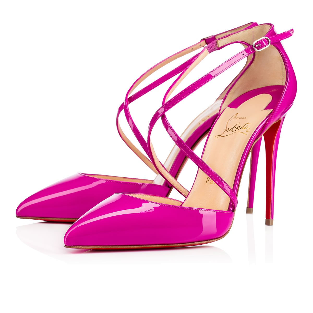 Роскошные розовые туфли лабутены Cross Blake