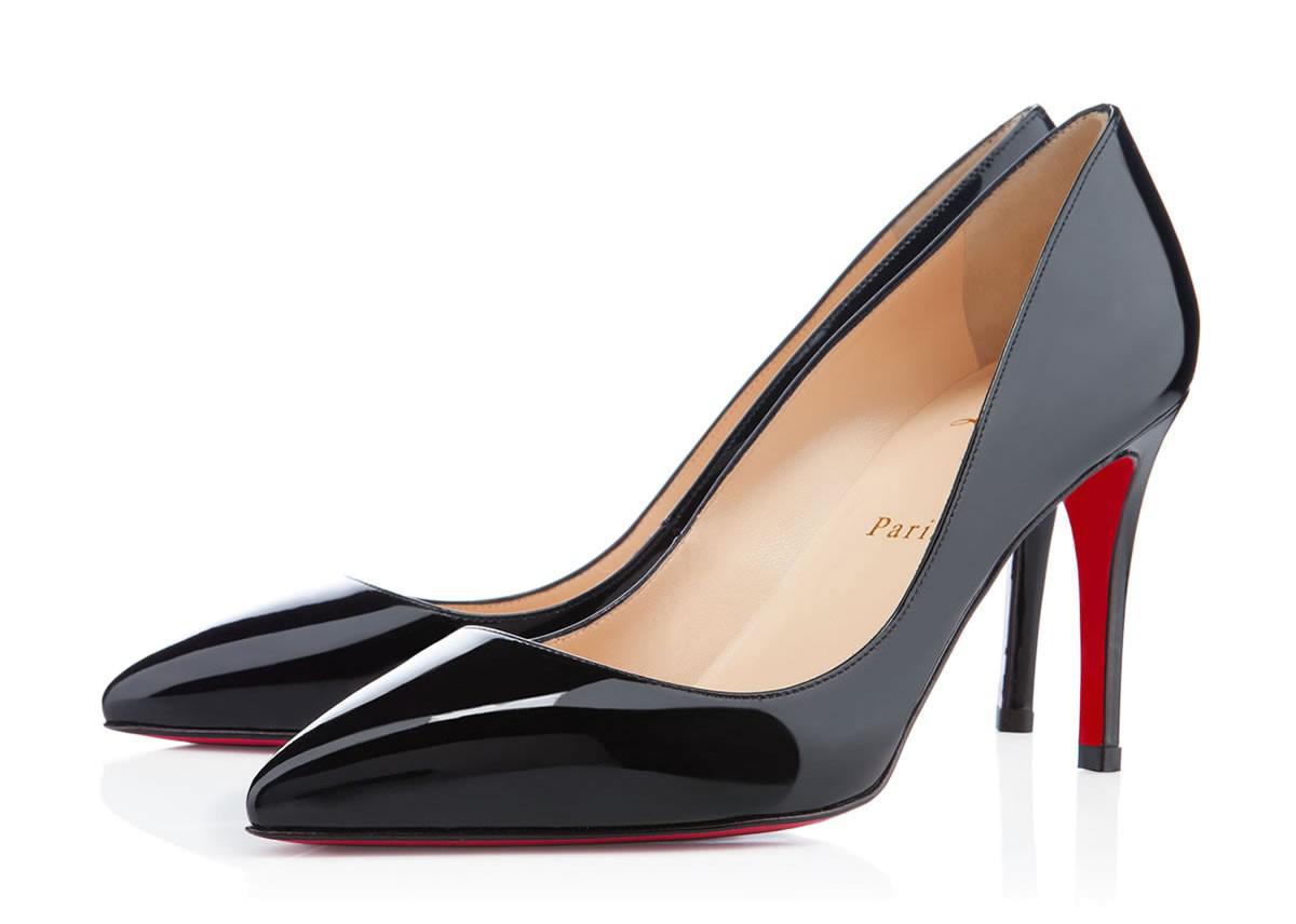 Черные лакированные туфли лодочки Лабутены Pigalle
